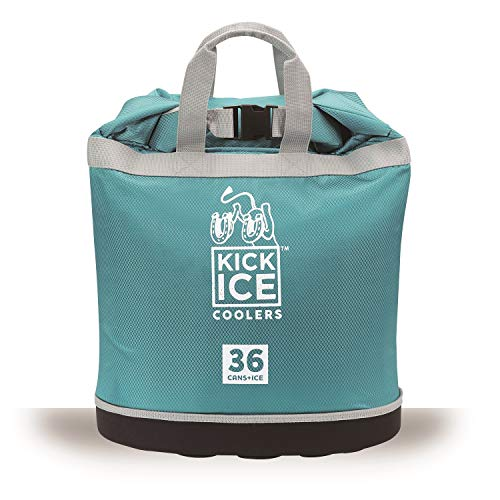 KickIce Dry Bag + Soft Cooler with PVC Free Leakproof Lining + Rolltop Closure for Kayaking, Beach, Rafting, Boating, Hiking, Camping and Fishing, Holds 36 Cans + Ice, 30L, Teal