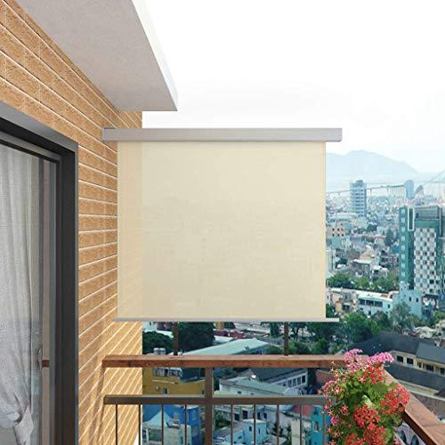 mewmewcat Toldo Lateral de Balcón Multifuncional Retráctil con una Placa de Montaje en Forma de L, 200 x 150 cm Crema