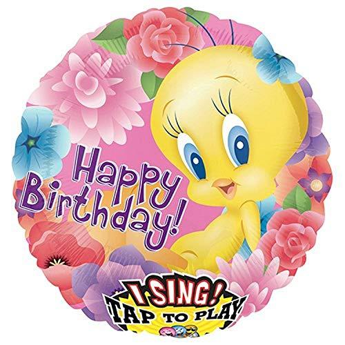 Anagram Tweety Happy Birthday Sing-A-Tune Foil Balloon, 28', Multicolored