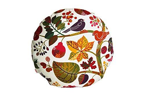 """beties """"Zauberwald"""" Kissenhülle rund ca. 50 cm Ø Kissenbezug Bodenkissen Poufs in interessanter Größenauswahl hochwertig & angenehm aus 100% Baumwolle (Elfenbein-bunt)"""