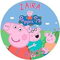 OBLEA de Papel de azúcar Personalizada, 19 cm, diseño de Peppa Pig Familia