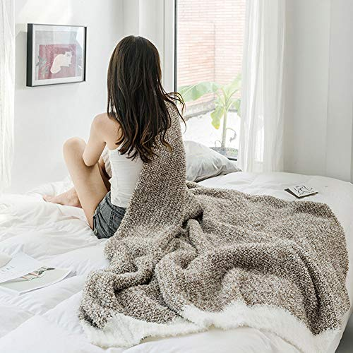 Knuffeldeken Knit, fleecedeken voor kinderen, deken met gebreid patroon voor stoel, bank E Bet (130 x 170 cm, koffiekleuren)