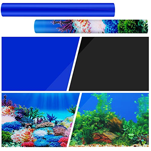 Zonon 2 Pieces 3D Aquarium Background 24 x 12 Inch Double Sides Undersea Corals Seaweed Backdrop Aquarium Fish Tank Poster for Photography Kids Birthday Party Decoration