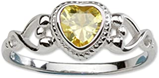 Sterling Silver Simulated CZ Birthstone Baby Ring with Heart for little girls