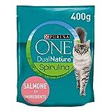 PURINA ONE DUALNATURE Crocchette Gatto Sterilizzato ricco in Salmone e con Spirulina naturale - 8 sacchi da 400g ciascuno