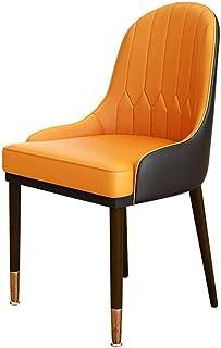 JJSFJH Silla de Oficina, Silla de Madera Maciza, Las piernas del Metal de la Silla de la habitación, Sillas de Cocina, sillón, sillas Salón Salón de Ocio, Bañera Silla (Color : Orange)