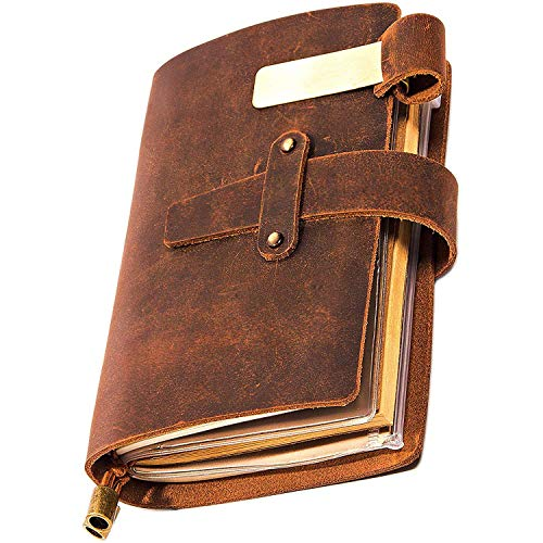 Genuine Leather Notebook - Notepad For Men & Women & Kids, Leather Travel Journal Scrapbook with Pen Holder, Card Slots and Zippered Pouch, Handmade Refillable Pocket Notebook