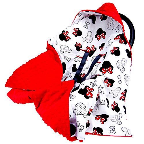 Einschlagdecke für Babyschale Kinderwagen Autositz - universal baby Decke z. B. Maxi Cosi, Buggy Autoschale Babydecke aus Minky Oeko-Tex zertifiziert (Rot Minky mit Maus Motiv auf weiß, 90 cm x 90 cm)