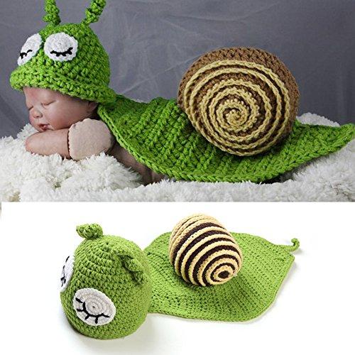SUNFIRE Cartoon Mignon escargots bébé Photographie Vêtements en tricot au crochet pour bonnet Cape Tenues Vert