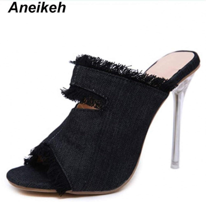 ANEIKEA H High Heels Sommer Hausschuhe Wear Pumps High Heels Heels Fashion Denim Damen Schuhe Hausschuhe Größe 35-40 schwarz  niedriger Preis