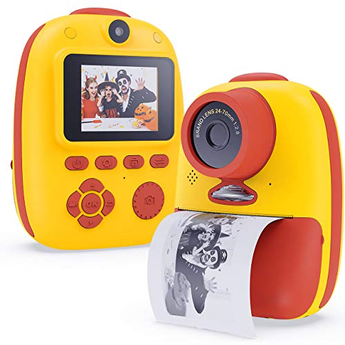 XDDIAS KinderKamera, Digitale Kamera mit 32G SD Karte, USB Wiederaufladbare Fotokamera Selfie und Videokamera, Spielzeug Camcorder für Jungen Mädchen Kinder Geschenke (Gelb)