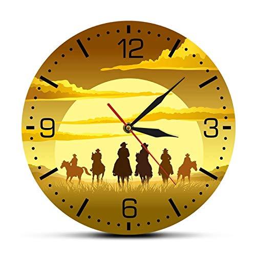 Montar a Caballo Wild West Sunset Design Reloj de Pared Western Sunset Cowboys Hombre Cueva Arte Relojes Colgantes Reloj de Pared de Barrido silencioso