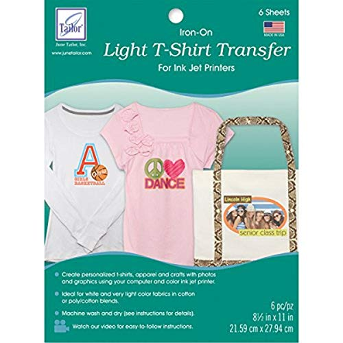 """June Tailor Light T, Shirt Iron, On Ink Jet Transfer Sheets (6 Pack), 8.5"""" by 11"""""""