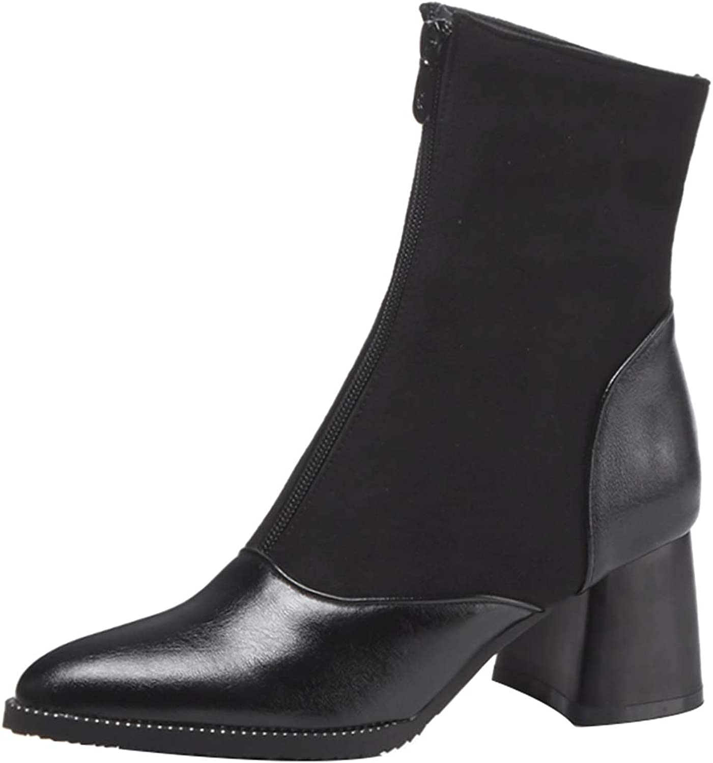 Jushee Womens Juguess 6 cm mid-Heel Ankle Zipper Patent-Leather Boots