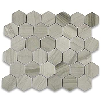 Stone Center Online Athens Grey Wood Grain Marble 2 inch Hexagon Mosaic Tile Polished for Kitchen Backsplash Bathroom Flooring Shower Surround Dining Room Entryway Corrido Spa  1 Sheet