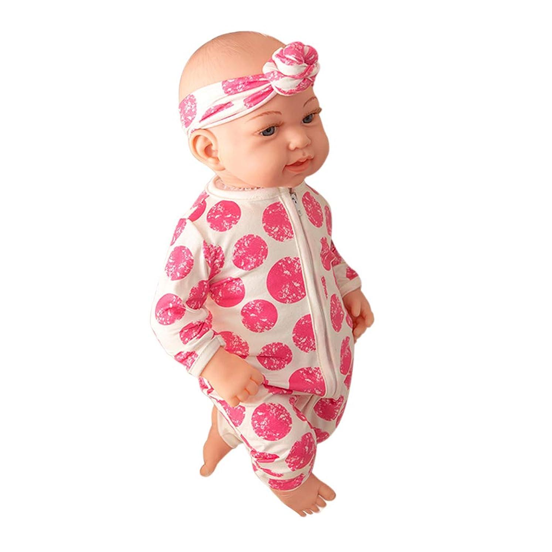 地質学また明日ね分子Toygogo 18インチリボーンドールピンクのジャンプスーツの服、開いた目とリアルな新生児男の子ビニールボディ