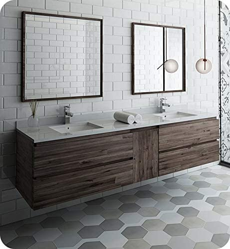 Amazon Com Fresca Formosa 84 Wall Hung Double Sink Modern Bathroom Vanity W Mirrors Tools Home Improvement
