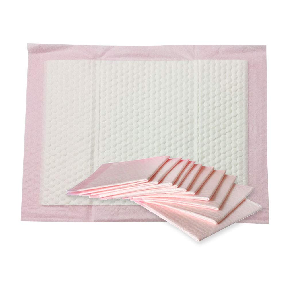 Nihao Honey Baby Disposable Changing Pad, 50 Count Incontinence Changing Pad with Breathable, Waterproof, Soft Non-Woven Fabric, and Leak Proof Quick Absorb(18x24in,Pink)