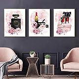QZROOM Rosa Blume Parfüm Kunst Poster High Heels Leinwand