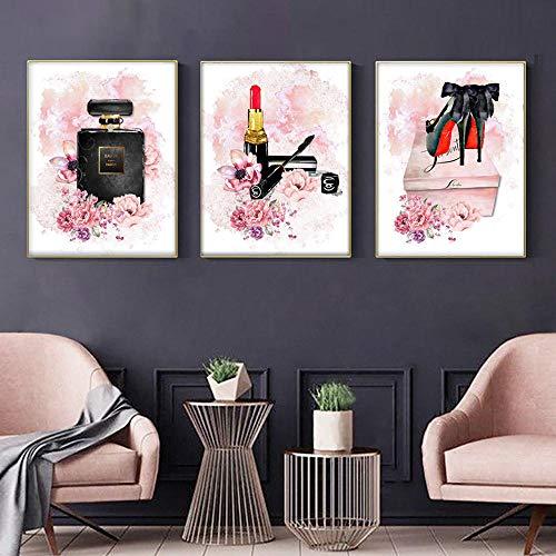 QZROOM Rosa Blume Parfüm Kunst Poster High Heels Leinwand Malerei Make-up Wandkunst Gemälde Vogue Poster Wandbilder Wohnzimmer Dekor-50x70cmx3Pcs-Kein Rahmen