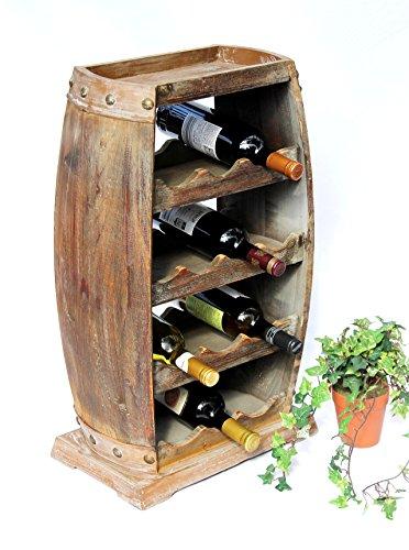 DanDiBo Weinregal Holz Weinfass 1549 Bar Flaschenständer 70 cm für 13 FL. Regal Fass Holzfass