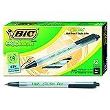 BIC Ecolutions Clic Stic Retractable Ballpoint Pen, Medium Point (1.0mm), Black, 12-Count