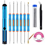 Sainwora 10 Pcs Soldering Accessories Kit Includes 6 Pcs Soldering Assist Aid Repair Tool, Desoldering Pump,Solder Wick & Pocket Pack Solder,Tweezers