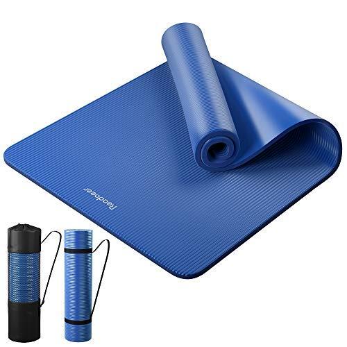 Reodoeer ヨガマット トレーニングマット エクササイズマット ゴムバンド 収納ケース付 厚さ10mm (ブルー)