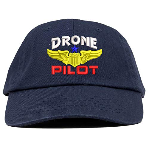 TOP LEVEL APPAREL Drone Pilot Aviation Wing Embroidered Soft Crown Dad Cap Navy