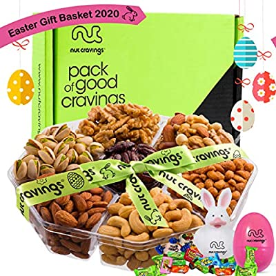 Easter Gift Basket For Men, Candy Filled Eggs & Bunny, Gourmet Arrangement Nut Tray (7 Section) - Healthy Food Edible Platter - Snack Box For Family, Adults, Women, Kids, Boys, Girls - Prime Delivery