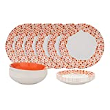 KASANOVA Servizio piatti 6 persone Gaudì Arancione - Set piatti in stoneware con decori a mosaico color arancione - Servizio piatti 18 Pezzi