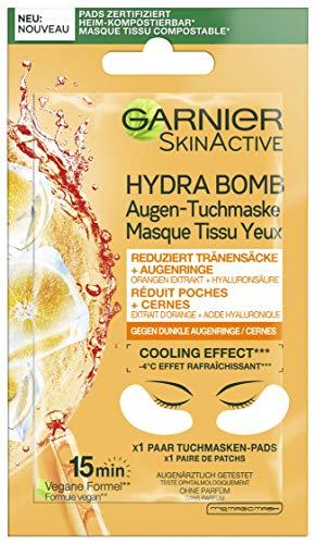 Garnier Augen-Tuchmaske, Feuchtigkeitsspendend, Gegen dunkle Augenringe, Reduzierung von Tränensäcken, Vegane Formel mit Orangen-Extrakt und Hyaluronsäure, Hydra Bomb, 6 g