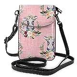 Bolso de cuero ligero de la PU pequeño bolso de Crossbody mini bolsa del teléfono celular bolsa de hombro con correa ajustable pimentón floral vaca en rosa lino pulgadas