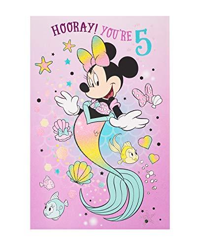 Geburtstagskarte zum 5. Geburtstag, Minnie Maus, Geburtstagskarte für Mädchen, Disney-Geburtstagskarte