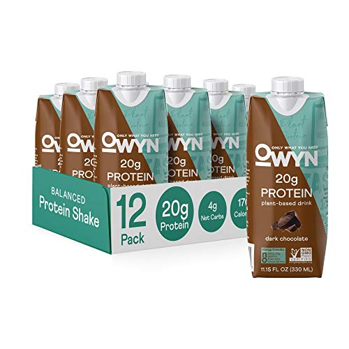 OWYN 100% Plant-Based Protein Shakes | Dark Chocolate, 11 Fl Oz, Pack of 12 | 20g Plant Protein and Omega-3, Superfoods Greens Blend, Dairy-Free, Gluten-Free, Soy-Free, Tree Nut-Free, Egg-Free, Allergy-Free, Non-GMO, Vegan