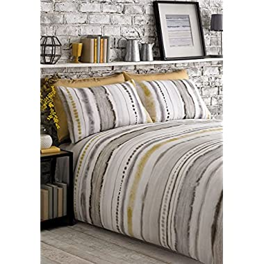 TIE DYED-STYLE GRADED STRIPES YELLOW GREY WHITE COTTON BLEND USA QUEEN SIZE (COMFORTER COVER 230 X 220 - UK KING SIZE) (PLAIN SILVER GREY FITTED SHEET - 152 X 200CM + 25 - UK KING SIZE) 4 PIECE BEDDING SET
