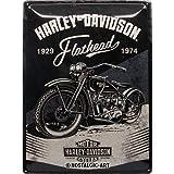 Nostalgic-Art Targa Vintage Harley-Davidson – Flathead Black – Idea regalo per amanti di moto, in metallo, Design retro per decorazione, 30 x 40 cm