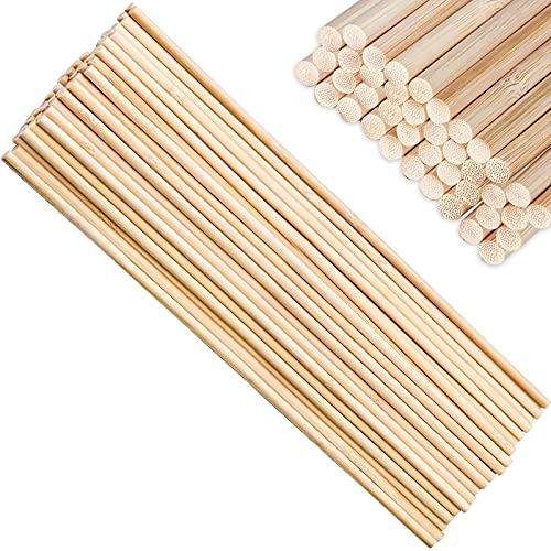 YUENX Palo Madera Redondo Natural, 50 Piezas Madera Palos Redondos (5mm * 30cm) de Varillas de Bambú de Alta Calidad para Manualidades, Decoraciones, Arte