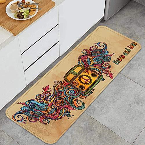 Cocina Antideslizante Alfombras de pie Hippie Vintage Coche Mini Van Ornamental Decoración de Piso Confortables para el hogar, Fregadero, lavandería-120cm x 45cm