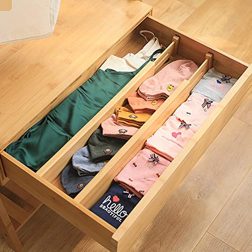 "4 Pack Bamboo Drawer Dividers Organizers, Spring Loaded Adjustable Kitchen Drawer Separators (2.36""High, 17""-22""), Expandable Wooden Drawer Organization Works in Dresser, Bathroom, Bedroom, Desk"
