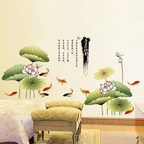 QINGYU Wandaufkleber,Hintergrund Tinte Lotus Wohnzimmer Das Schlafzimmer schmückt Hausrat Wandsticker in der Wand