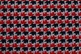 Tessuto al metro: Lana cotta pied de poule grigio nero e rosso