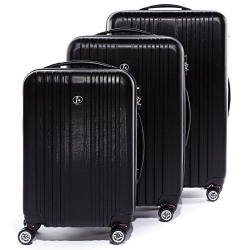 FERGÉ Kofferset Hartschale 3-teilig Toulouse Trolley-Set - Handgepäck 55 cm, L und XL 3er Set Hartschalenkoffer Roll-Koffer Reisekoffer mit 4 Rollen ABS...