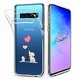 Fanxwu Compatible con Funda Samsung Galaxy S10 Case Ultrafina Claro Transparente Suave TPU Silicona Gel Cover Anti-Arañazos Anti-Shock Bumper Cáscara - Elefante y Conejo