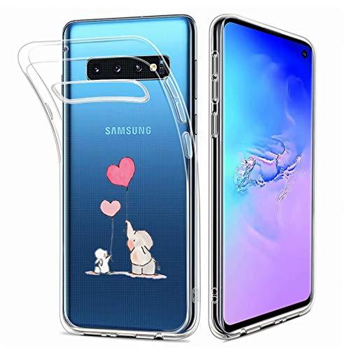 Fanxwu Kompatibel mit Samsung Galaxy S10 Hülle TPU Silikon Klar Case Ultra Schlank Transparente Weich Handyhülle Anti-Kratzer Stoßfest Schutzhülle - Elefant und Kaninchen