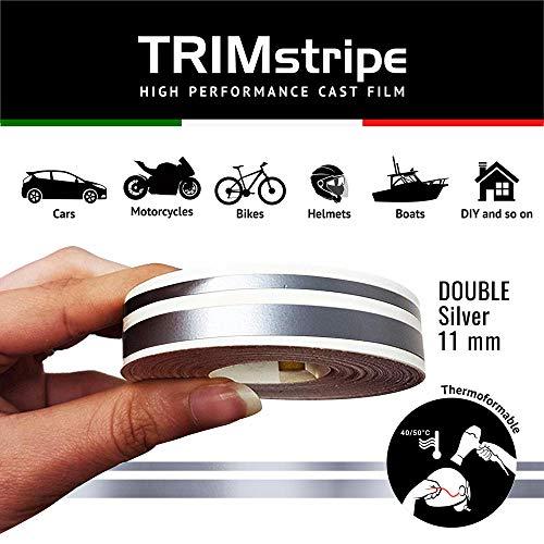 4R Quattroerre.it 10507 Trim Stripes Strisce Adesive per Auto, Argento, 2F 11 mm x 10 mt
