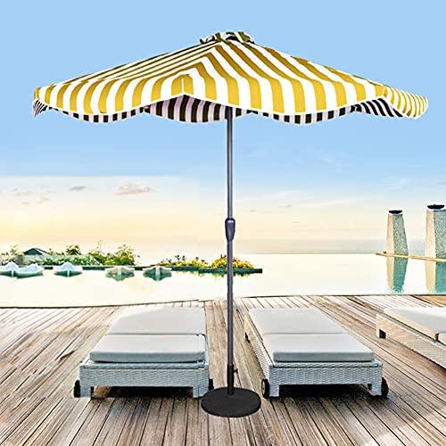 ELLENS Parasol de Playa con Rayas de 2,7 m, Parasol para Acampar, Parasol de protección UV, Parasol de jardín, UPF50 +