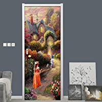 ドア壁画デカール ガーデンヴィラドアステッカー自己粘着壁画DiyデカールPvc壁紙
