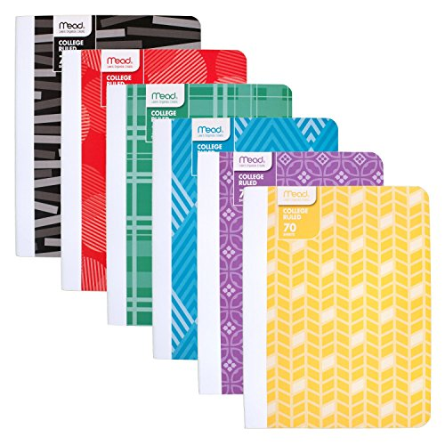 Mead Composition Books/Notebooks, College Ruled Paper, 70 Sheets, Fashion, Designs Selected For You, 6 Pack (38211)