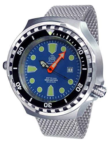 Tauchmeister Reloj de buceo automático XXL T0315MIL 100 ATM correa milanesa 52 mm